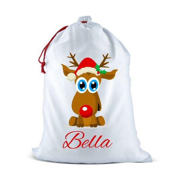 Cute Reindeer White Santa Sack