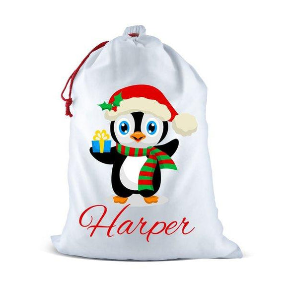 Penguin White Santa Sack
