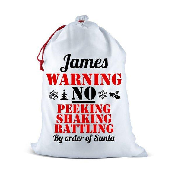 Warning White Santa Sack