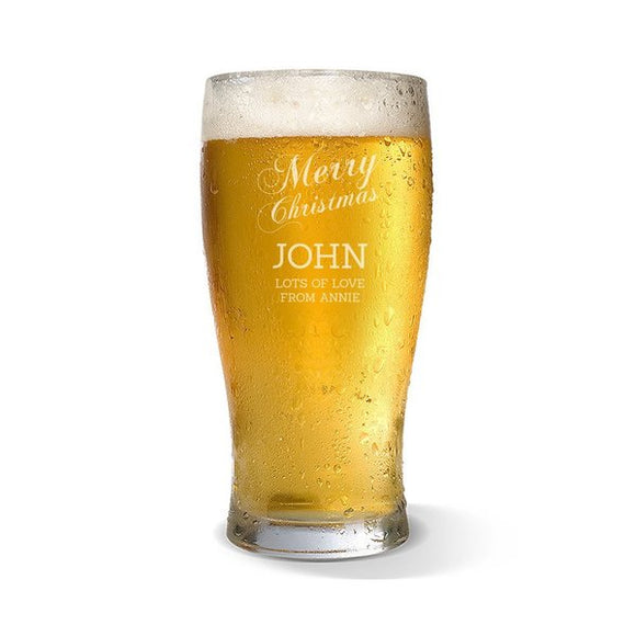 Merry Christmas Standard 285ml Beer Glass