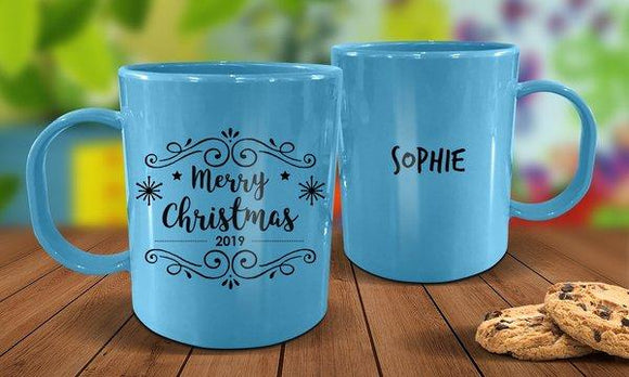 Merry Christmas Plastic Mug - Blue