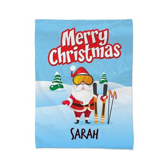 Santa Skiing Blanket - Large (Temporary Out of Stock)