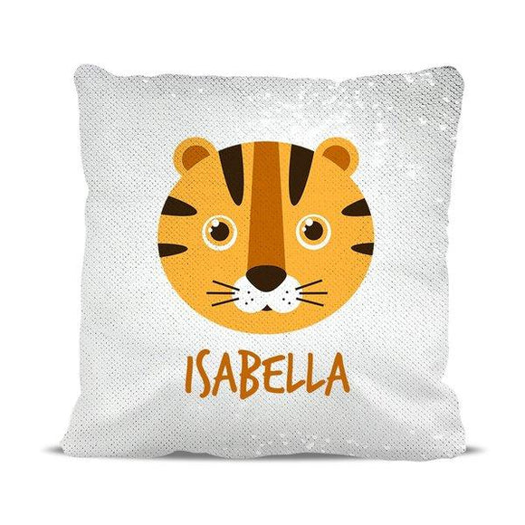 Tiger Reversible Sequin Cushion Cover