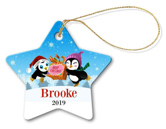 Two Penguins Star Decoration