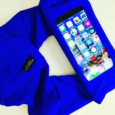Smartphone Belt, Insulin Pump Belt, Dexcom Tummietote Belt w/ smartphone size window-Cobalt Blue