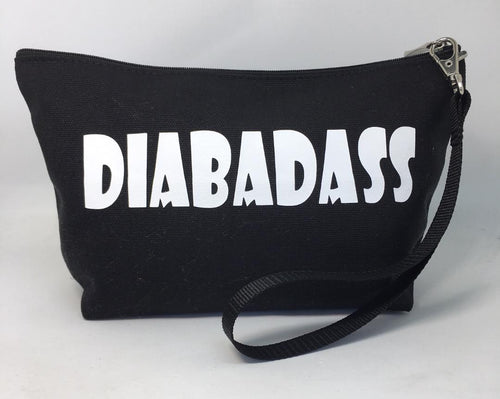 Diabetes Supply Bag, Case, Pack, Pouch, Makeup bag, Tote, 'DIABADASS'