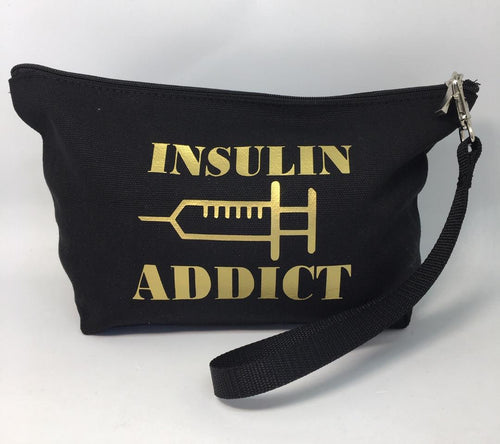 Diabetes Supply Bag, Case, Pack, Pouch, Makeup bag, Tote, 'Insulin Addict'