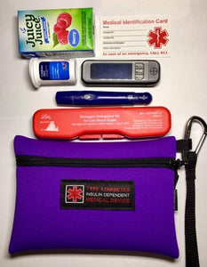 Diabetes Supply Bag, Case, Pack, Pouch with Medical Alert Device ID
