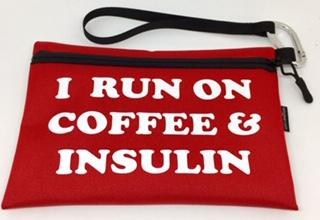Diabetes Supply Bag, Case, Pack, Pouch, I RUN ON COFFEE & INSULIN
