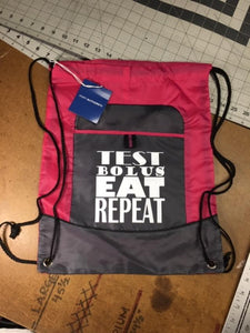 Diabetes Cinch Backpack,  TEST BOLUS EAT REPEAT
