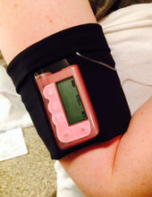 Load image into Gallery viewer, Arm/Leg Pocket for Dexcom/Omnipod/Insulin Pump/Smartphone w/optional window-Hot Pink with Black Polka Dots