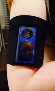 Arm/Leg/Wrist/Ankle Pocket for Dexcom/Omnipod/Insulin Pump/Smartphone w/optional window-Blue w/Rainbow Splash