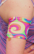 Load image into Gallery viewer, Arm, Leg Skins for Dexcom, Omnipod, Insulin Pump Site-Blue w/ Rainbow Splash