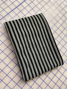 BLACK AND GREY YARD DYED STRIPES - RAYON SPANDEX RIB KNIT - OFF THE RACK