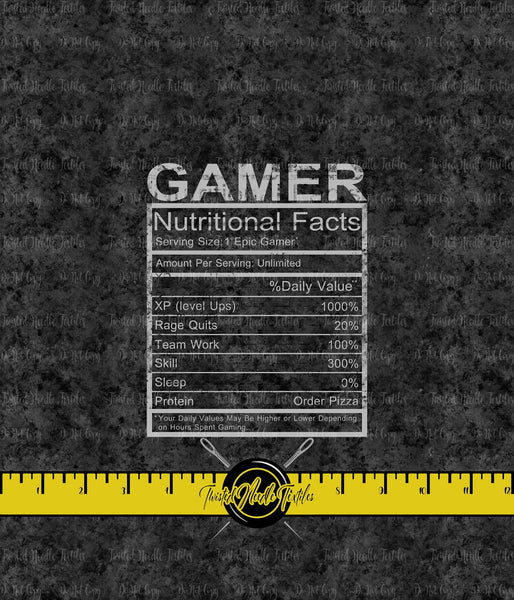 GAMER NUTRITIONAL FACTS PANEL - PERPETUAL PREORDER