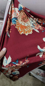 Burgundy Floral Double Brushed Poly - TNT OFF THE RACK