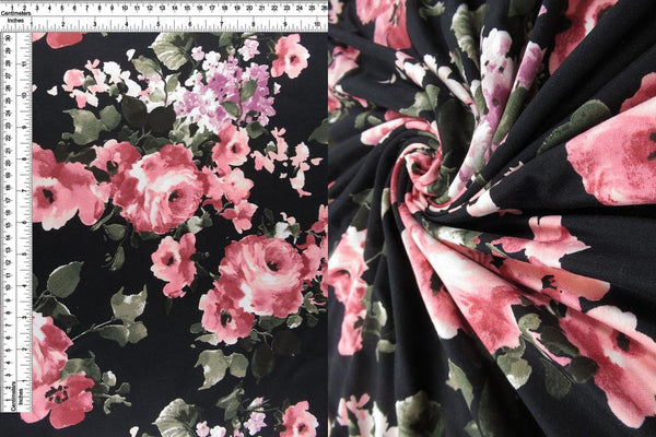 Black and Pink Floral DOUBLE BRUSHED POLY - TNT OFF THE RACK