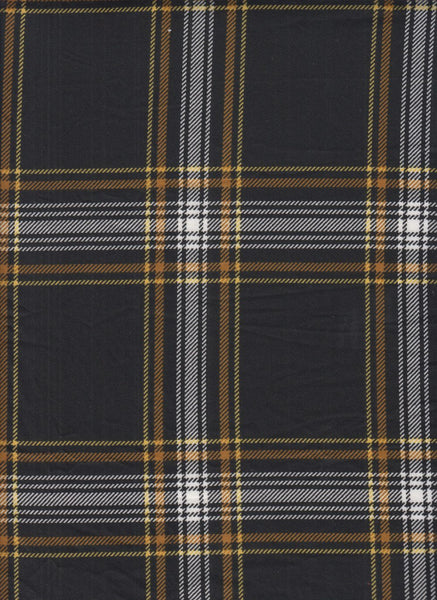 BLACK & MUSTARD PLAID - BRUSHED POLY SPANDEX - OFF THE RACK