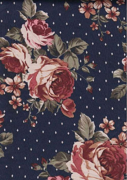 NAVY FLORAL SCUBA POLY SPANDEX - TNT OFF THE RACK