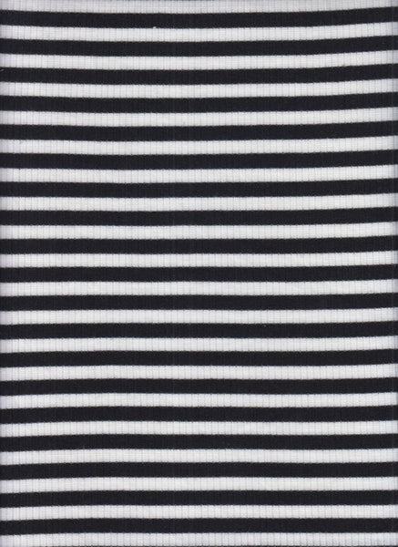 BLACK AND WHITE YARD DYED STRIPES - RAYON SPANDEX RIB KNIT - OFF THE RACK