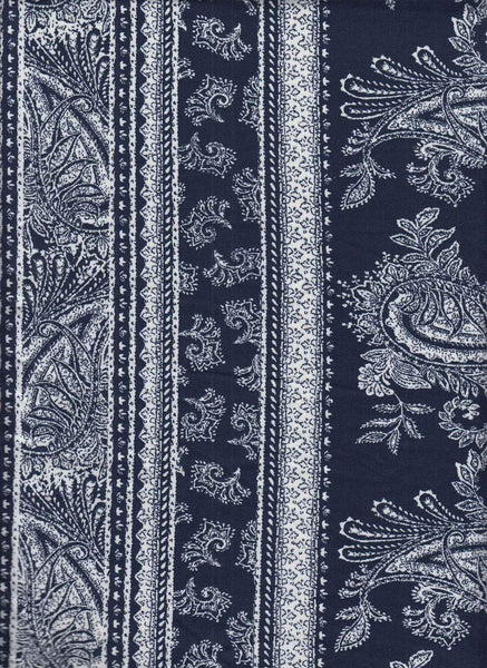 NAVY ORGANIZED PAISLEY - BRUSHED POLY SPANDEX - OFF THE RACK