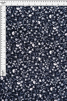 NAVY AND IVORY FLORAL VINES - BRUSHED POLY SPANDEX - OFF THE RACK