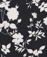 BLACK AND WHITE FLORAL - BRUSHED POLY SPANDEX - OFF THE RACK