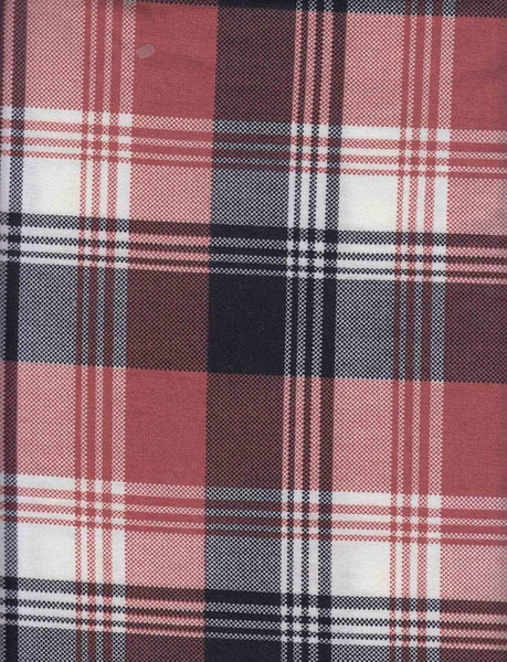 RUST AND BLACK PLAID - POLY SPANDEX FRENCH TERRY - OFF THE RACK