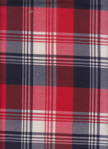 CHERRY AND NAVY PLAID - POLY SPANDEX FRENCH TERRY - OFF THE RACK