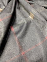 BLACK AND BEIGE DESIGNER PLAID POLY COTTON SPANDEX  - TNT OFF THE RACK