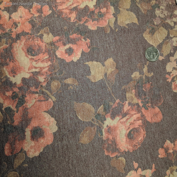 WINE AND ROSE FLORAL POLY RAYON SPANDEX - TNT OFF THE RACK