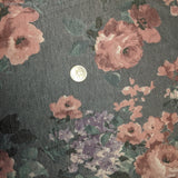 GUNMETAL FLORAL POLY RAYON SPANDEX - TNT OFF THE RACK