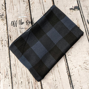BUFFALO PLAID NAVY AND BLACK POLY RAYON SPANDEX - TNT OFF THE RACK