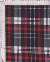 SCARLET PLAID - POLY RAYON SPANDEX FRENCH TERRRY - OFF THE RACK