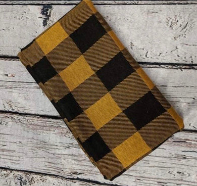 BUFFALO PLAID MUSTARD AND BLACK POLY RAYON SPANDEX - TNT OFF THE RACK