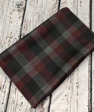BURGUNDY AND GREY PLAID POLY PONTI - TNT OFF THE RACK