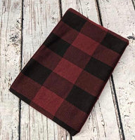 BUFFALO PLAID BURGUNDY AND BLACK POLY RAYON SPANDEX - TNT OFF THE RACK