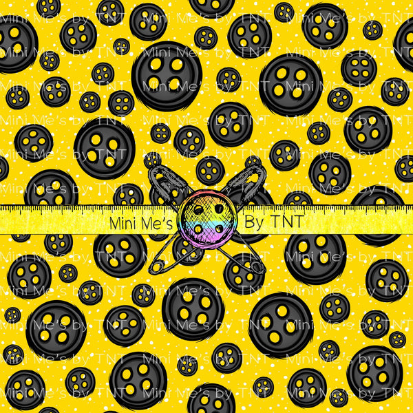 OTHER WORLD BUTTONS ON YELLOW POLKA DOTS  - ROUND 41 PREORDER