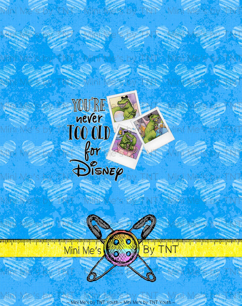 DINOS AT DISNEY NEVER TOO OLD BLUE PANEL - PERPETUAL PREORDER