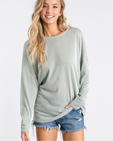 Striped Sage Open Back Long Sleeve, Tops - Trilogy Boutique