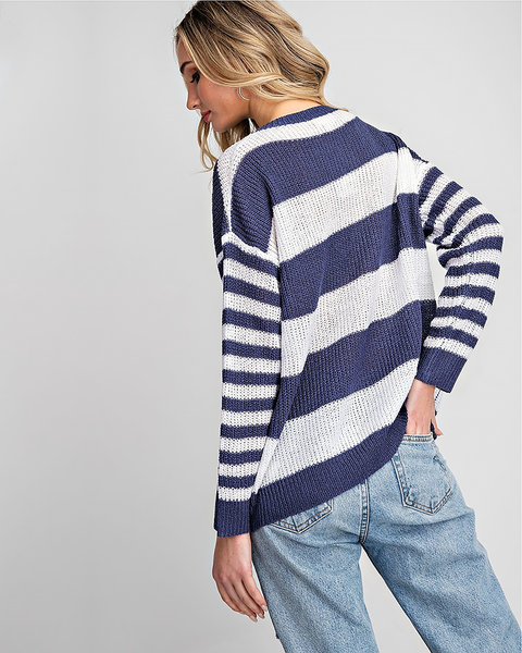 Navy Thick Striped Sweater, Tops - Trilogy Boutique