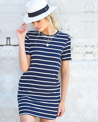 Navy Striped T-Shirt Dress, Dresses - Trilogy Boutique