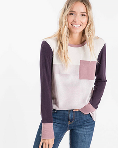 Plum Color Block Pocket Top, Tops - Trilogy Boutique