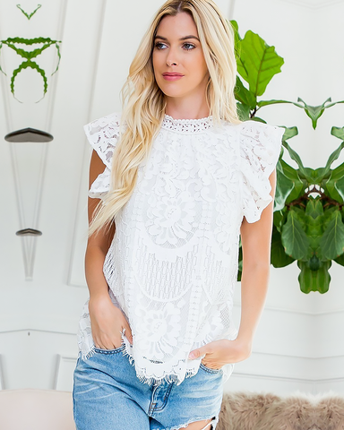 White Lace Ruffle Cap Blouse