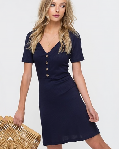 Navy Button Ribbed Dress