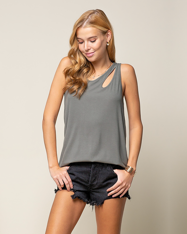 Olive Cut Out Tank
