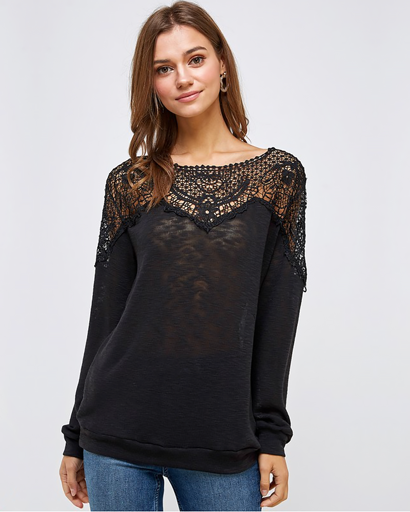 Black Knit Lace Top, Tops - Trilogy Boutique