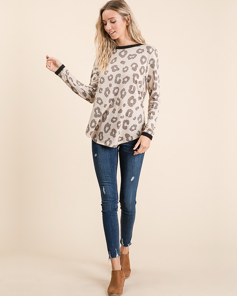 Animal Print Long Sleeve Top, Tops - Trilogy Boutique