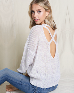 Lavender Twist Back Sweater, Tops - Trilogy Boutique
