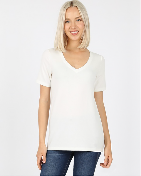 Basic V-Neck Tee, Tops - Trilogy Boutique